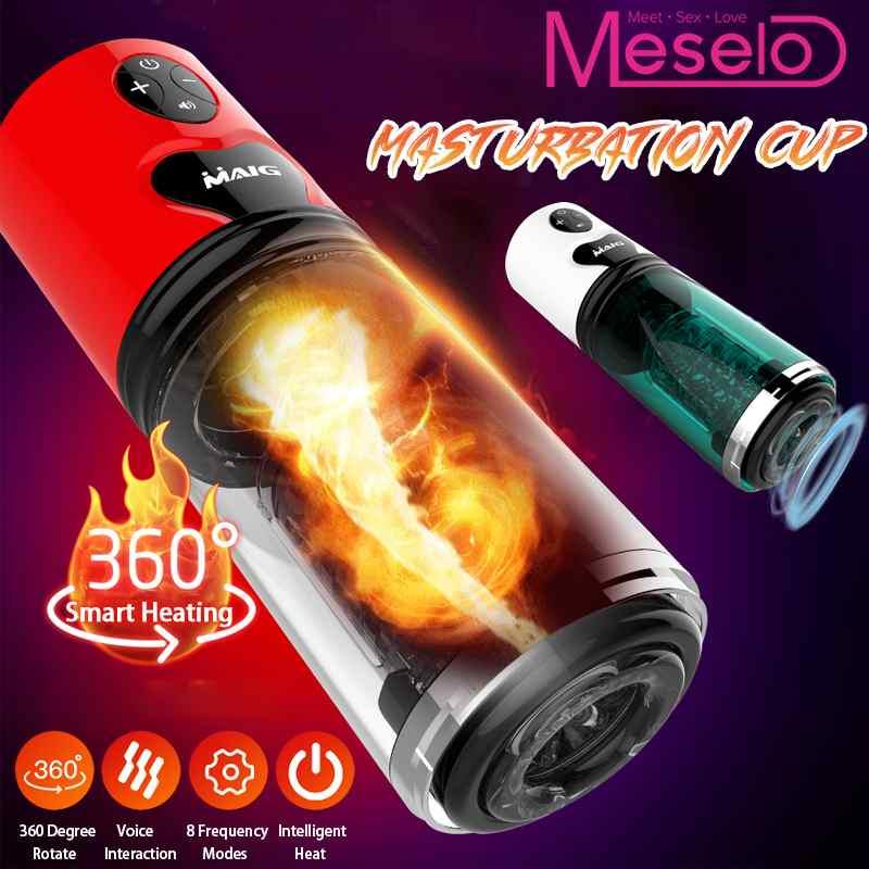 Meselo 10 Speed Telescopic Rotation Vibrations Electric Masturbator Artificial Vagina Cup Sucking Male Sex Toys For Men
