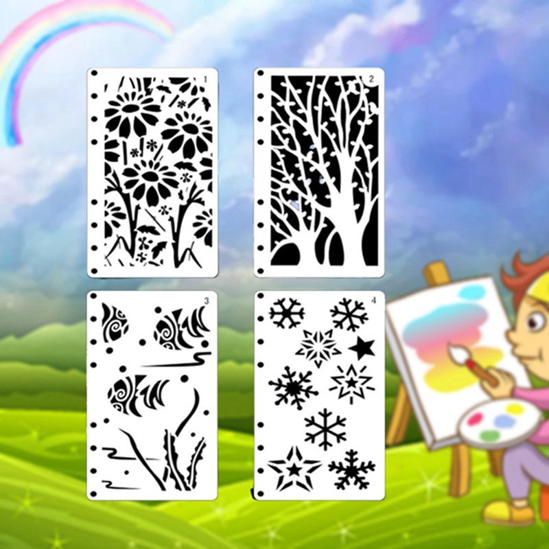 12pcs/set Children Drawing Template Material Lace Ruler Scrapbooking DIY Stamp Mulit Designs Hand Made Stamps