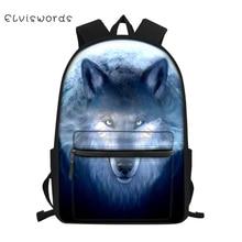 ELVISWORDS Childrens Little Canvas Backpack Fantasy Wolf Prints Pattern Students School Bags Fashion Kids Travel Backpacks