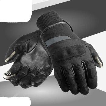 Nuevo invierno Cálido impermeable a prueba de viento guantes de protección moto rcycle moto cros moto rbike montar en cuero moto Ski guantes