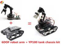 SZDOIT Wifi/Bluetooth/Griff Control Voll Metall 6-Achse Robotic Arm Mit Greifer + YP100 Verfolgt Tank chassis Kit DIY für Arduino