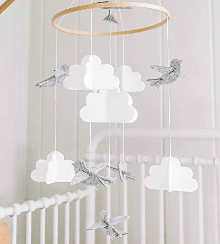 Baby Crib Mobile Birds Clouds Felt