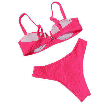 2020 New Swimsuit Women Push-up Padded Bra Bandage Bikini Set Triangle Monokini Swimwear Bathing Swimming Suit Solid Beachwear 2