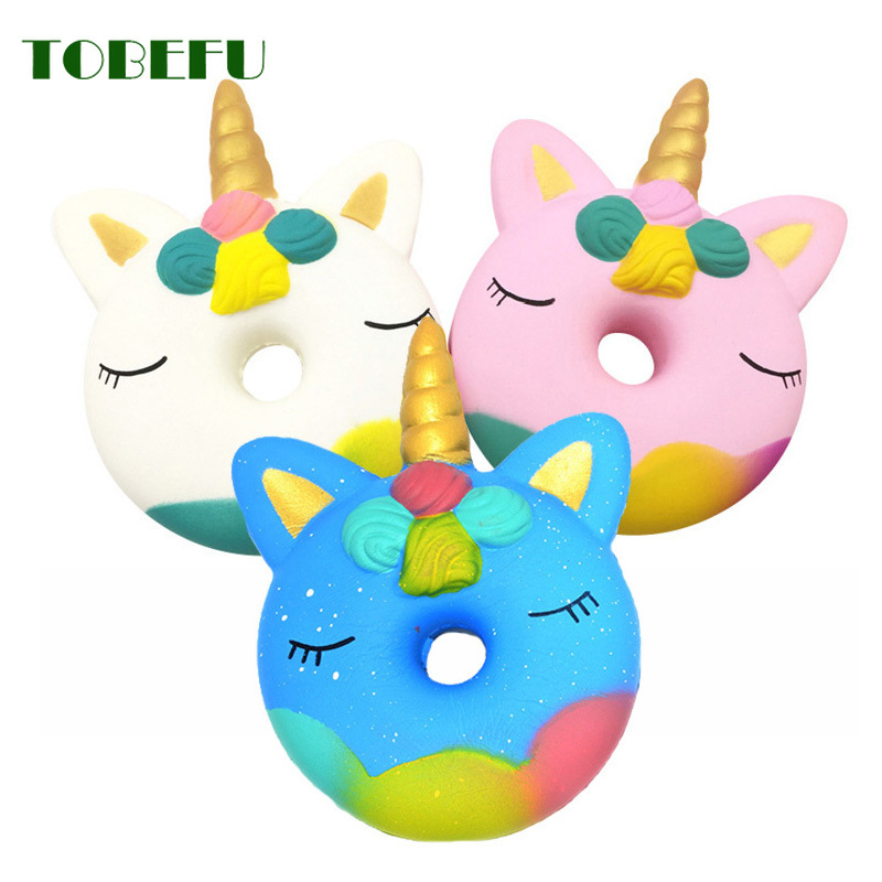 TOBEFU Jumbo Kawaii Donut Unicorn Squishy Cake Bread Squishies Cream Scented Slow Rising Squeeze Toy Kids Xmas Birthday Gift