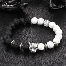 Bead Bracelets for Women Men 8mm Natural Lava Rock Stone Bracelet Essential Oil Diffuser Leopard Head Jewelry Gifts