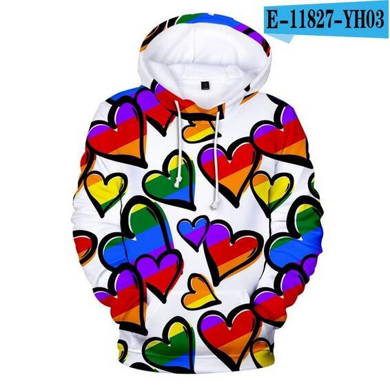 Colorful Rainbow LGBT Hoodies Sweatshirt Men Women For Lesbian Gay Pride LGBT Hoodie Fashion Casual Pullover Hooded Sweatshirts 26