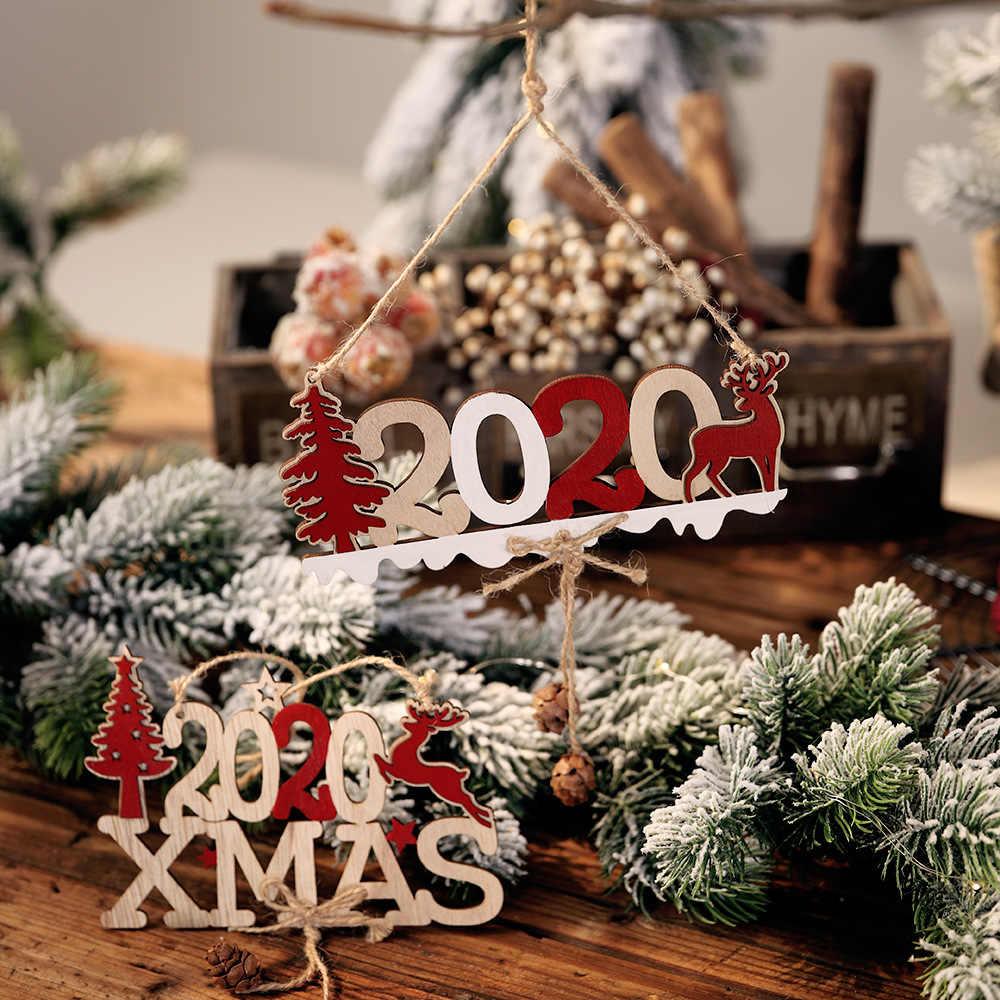 2020 Hari Natal Selamat Natal Dekorasi Kayu Pohon Natal Ornamen Santa Salju Elk: 2020 Tahun Baru Dekorasi Rumah