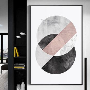 Hand painted geometric canvas oil painting modern abstract acrylic painting Pictures for living room Wall art home decoration фото