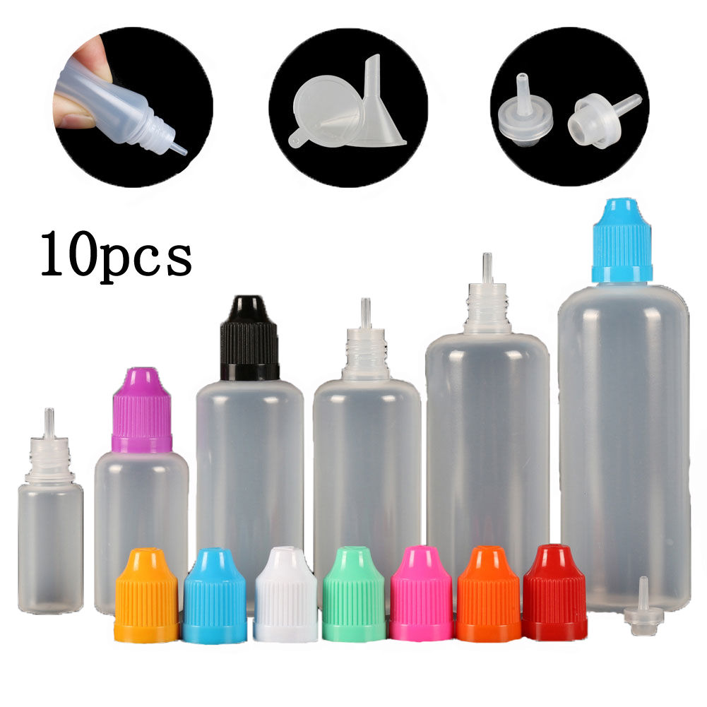 10pcs (3ml-120ml) Empty Dropper Bottles LDPE Squeezable Eye E Liquid Juice Container CRC Cap Long Dropper Tip + Funnels