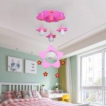 Pink Flower Cartoon Celling Lamps Girls Bedroom Chandelier Kids Hanging Creative Chandelier Household Art Light Fixtures