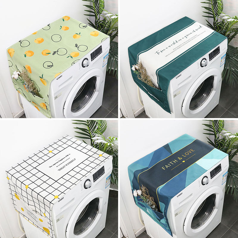 Geometric Cotton Linen Washer Cover Refrigerator Dust Cover Home Decoration Pocket Cover Cloth Home Cleaning