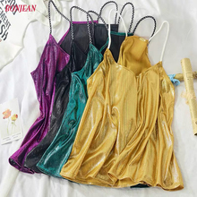 2019 Sexy Womens Sequins Glitter Shinny Camis Sleeveless T-Shirt Summer Sparkle Shimmer Vest Metallic Straps Party Clothes