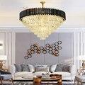 Современная хрустальная люстра  светильники  золотые  черные  Висячие потолочные круглые светильники для ресторана  столовой  гостиной  спа...