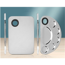 Stainless Steel Makeup Mixer Nail Art Polish Mixing Plate Foundation Eyeshadow Eye Shadow Mixer Palette with Spatula Rod