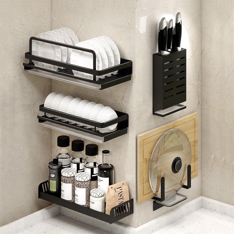 Black Aluminum Alloy Wall Mounted Kitchen Storage Rack Dish Drainer Plate Drying Pot Cover Cutlery Holder image