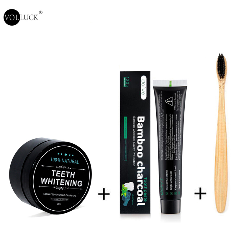 Teeth Whitening Kit Toothpaste Teeth Whitening Powder Activated Coconut Charcoal Powder Bamboo with Toothbrush for Oral Hygiene title=