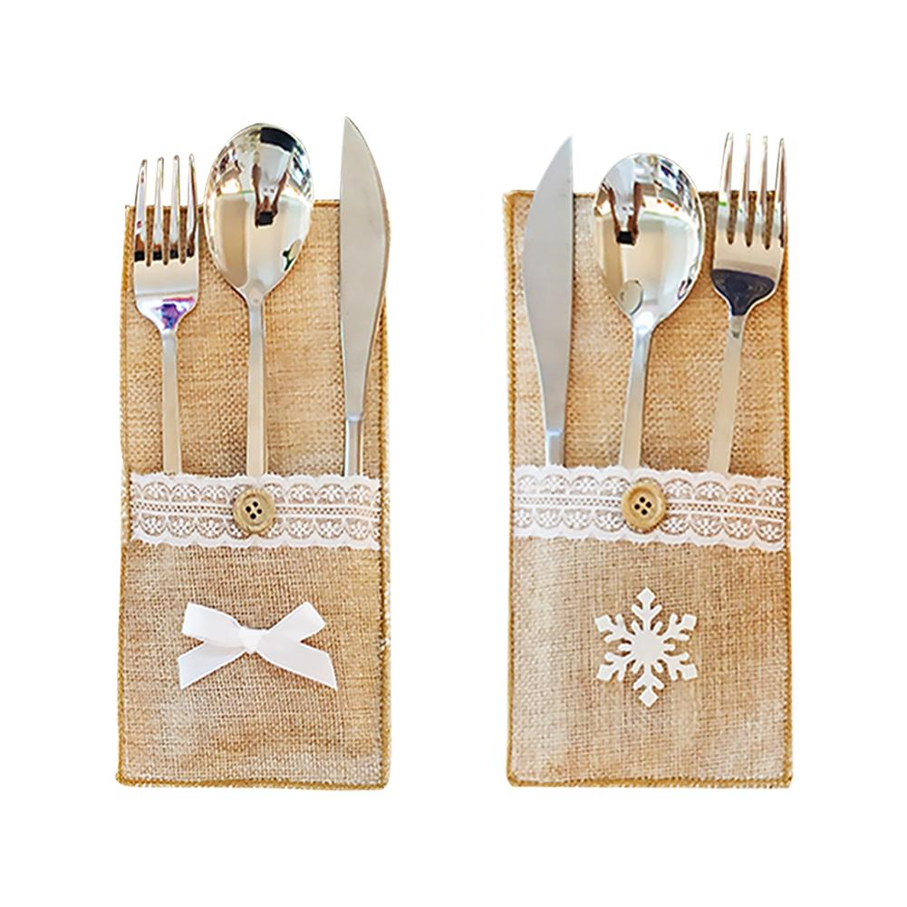 1pc Jute Lace Cutlery Cover Knife Fork Bag Holder for Wedding Holiday Party Table Silverware Decoration Supplies 40P