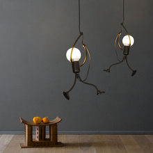 little man climbing pendant light modern hanging lamp creative iron people lights metal for kid children room(China)
