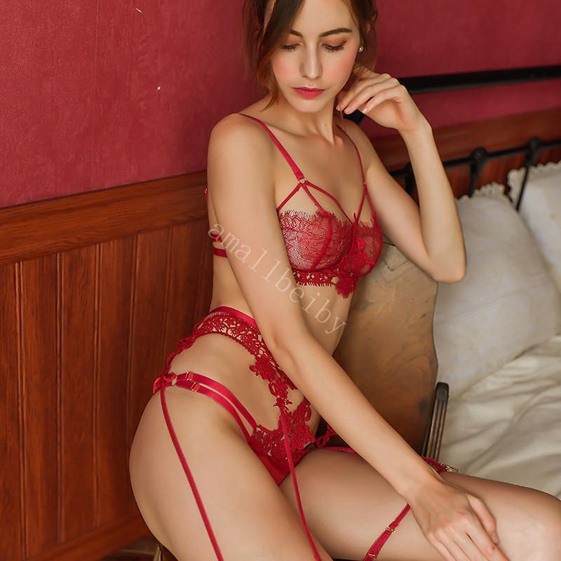 H06f9f14a635f4fac9c1ace8103e45904f Sexy Lace Bra and Panty Set with Garter Belt Women's Lingerie Y-Line Adjustable Shoulder Strap Transparent Brief Bra Sets