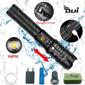 DUI USB Rechargeable led camping lantern torch XHP50/70 powerful fllashlight 70mm lamp beads Brightness tactical flashlight(China)