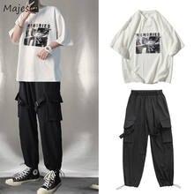 Ensemble Cargo imprimé multi-poches pour hommes, grande taille 3XL, Style coréen, tendance, loisirs Chic, pour adolescents, Ins BF, Hip-hop, Streetwear