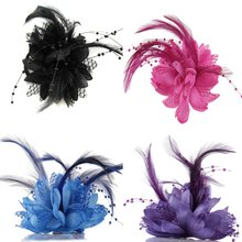 Hot kobiety panie kwiat pióro koralik stanik spinki do włosów Fascinator Bridal Hairband broszka Pin S3(China)