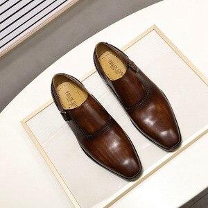 Image 5 - FELIX CHU Men Dress Shoes Plain Toe Genuine Leather Brown Hand Painted Buckle Monk Strap Business Office Mens Formal Suit Shoes