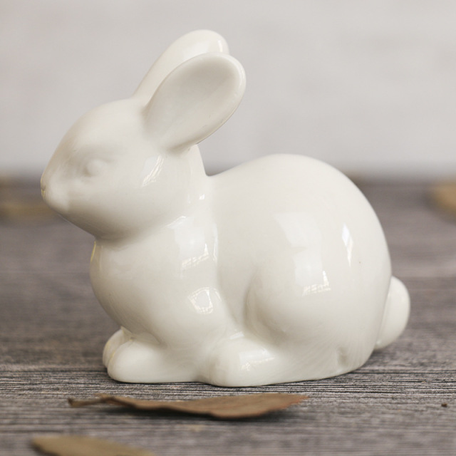 lovely ceramic rabbit family hare nordic style white home decoration desktop ornaments craft miniature fairy landscape DHLL01 6