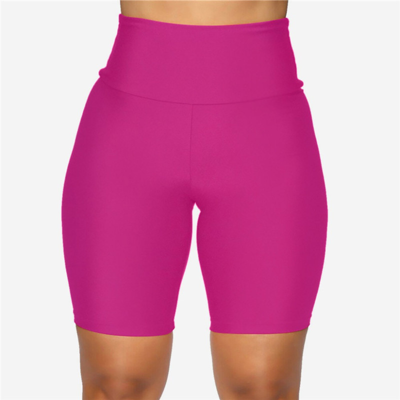 2020 New Women`s Cycling Shorts Stretch Plain Biker shorts Casual Sports Fitness Ladies Elastic Waist Leggings Slim Shorts (1)