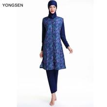 Yongsen plus size muçulmano maiô biquíni islâmico hijab beachwear modesto banho de manga longa burkinis islam nadar