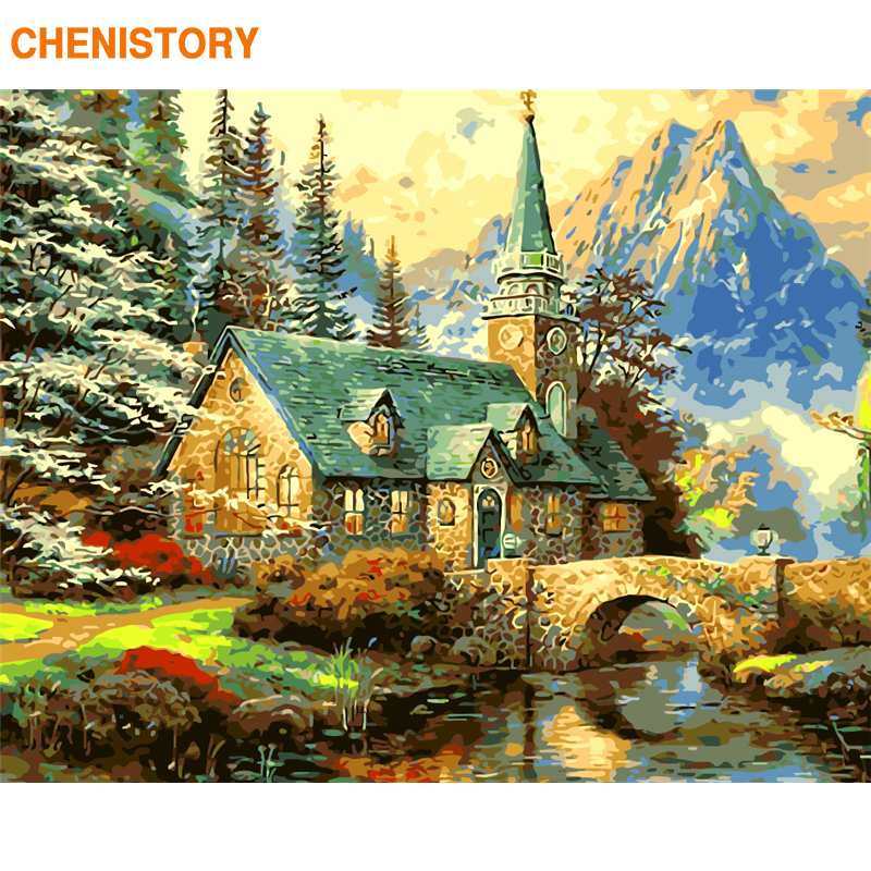 CHENISTORY Frame DIY Painting By Numbers Countryside Picture By Numbers Acrylic Canvas Painting  Landscape For Diy Gift 60x75cm