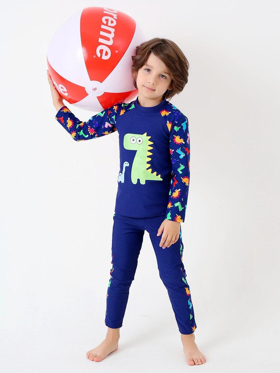 Children Split Type Long Sleeve Swimming Trunks Swimsuit Set Big Boy BOY'S No Kids Quick-Dry Dinosaur Hot Springs Chinlon
