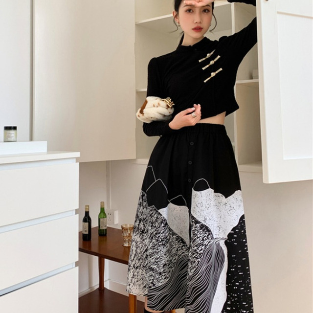 DEAT Woman Suit Black Buckle Stand Collar Long Sleeve Fit Tops + Print Elastic Waist Skirt Vintage Style 2021 New Autumn 15XF734 3
