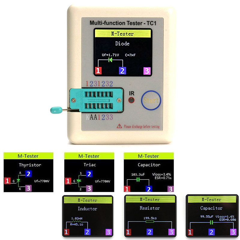 1.8 Inch Colorful Display Pocketable Multifunctional TFT Transistor LCR-TC1 MOSFET IR Tester For Diode Triode Capacitor Resistor