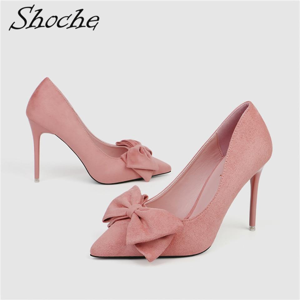 Shoche Women Sweet High Heels Flock Pumps Bow Knot Fashion Shoes Thin Pink Yellow Woman 10cm