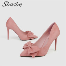 Shoche Women Sweet High Heels Flock Pumps Bow Knot Fashion Shoes Thin Pink Yellow Woman 10cm