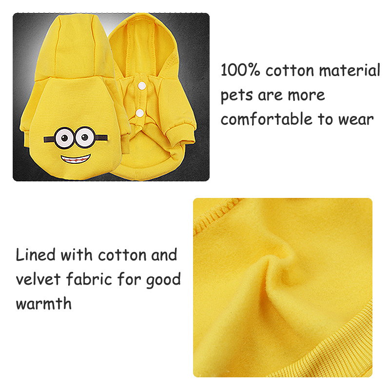 Cartoon Printed Dog Jacket with Soft Cotton Hoodie in Button Closure Design for Small/Medium Dogs 3