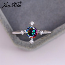 Mystic Rainbow Fire Crystal Round Stone Rings For Women Simple Zircon Cross Wedding Bands