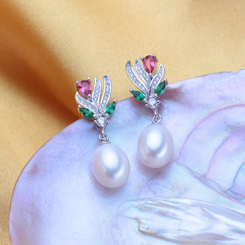FENASY Bohemian Natural Freshwater Pearl Earrings For Women 925 Sterling Silver Long Earrings Ruby Wedding Engagement Jewelry