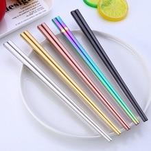 Новинка 304, посуда из нержавеющей стали, палочки для еды, кухонные принадлежности, многоразовая китайская столовая посуда, Нескользящие палочки для еды