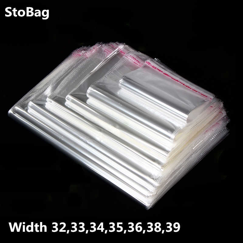 StoBag 100pcs Transparent Self Adhesive Plastic OPP Resealable Poly Cellophane Clothing Dust Bags Clear Packing Gift Bag
