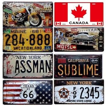 Placas de Metal para coches de EE. UU., número de matrícula, garaje, Bar, Bar, decoración de Pub, cartel de Metal, signo de estaño, decoración Vintage para el hogar