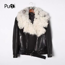 Pudi women genuine leather jacket real wool fur coat winter warm coats overcoat TX907 pudi a59360 women winter 30