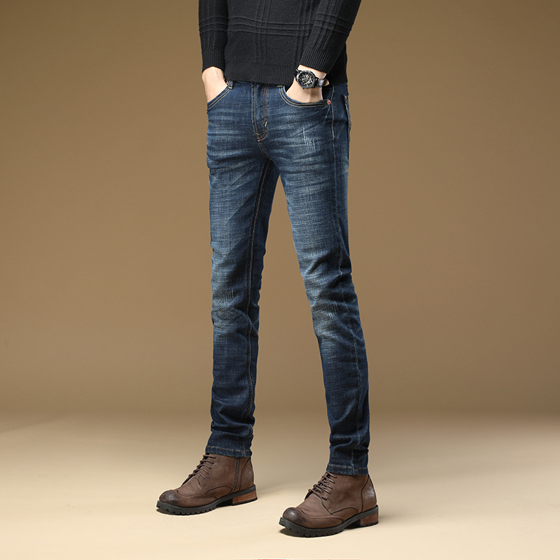Autumn And Winter New Style Elasticity Jeans Men's Straight-Cut Business Men Casual Trousers Slim Fit Pants MEN'S Trousers