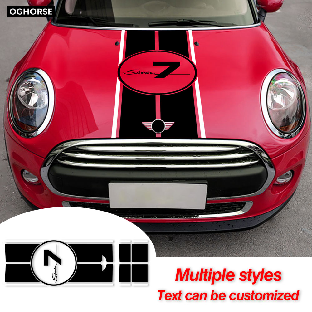 Car Hood Decal Engine Cover Trunk Rear Line Bonnet Stripe Stickers For MINI Cooper S F56 F55 JCW Clubman F54 Accessories