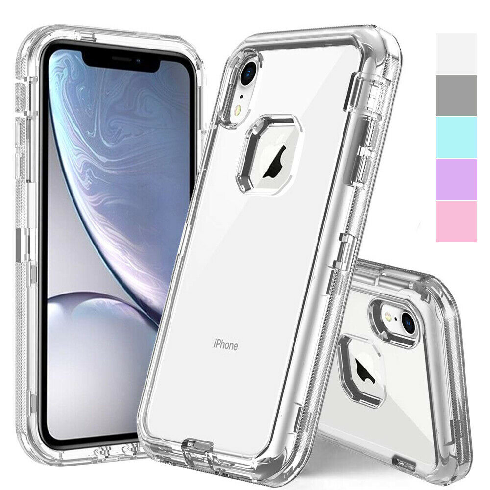 Luxury Heavy 3 In 1 Shockproof <font><b>Armor</b></font> Phone <font><b>Cases</b></font> <font><b>For</b></font> <font><b>iPhone</b></font> 11 Pro <font><b>X</b></font> <font><b>XS</b></font> <font><b>Max</b></font> XR 6 6s 7 8 Plus Clear Crystal Defender <font><b>Case</b></font> Cover image