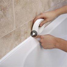 Nova tira de vedação pia do chuveiro banheiro banho caulk fita branca pvc auto adesivo à prova dwaterproof água banheiro cozinha porta gap