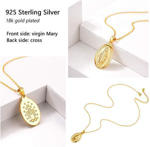 Image 4 - Breloques en argent Sterling 925, colliers avec pendentifs vierges de Mary, bijoux religieux chrétiens, chaîne croisée à la mode, pour femmes et hommes, SC118