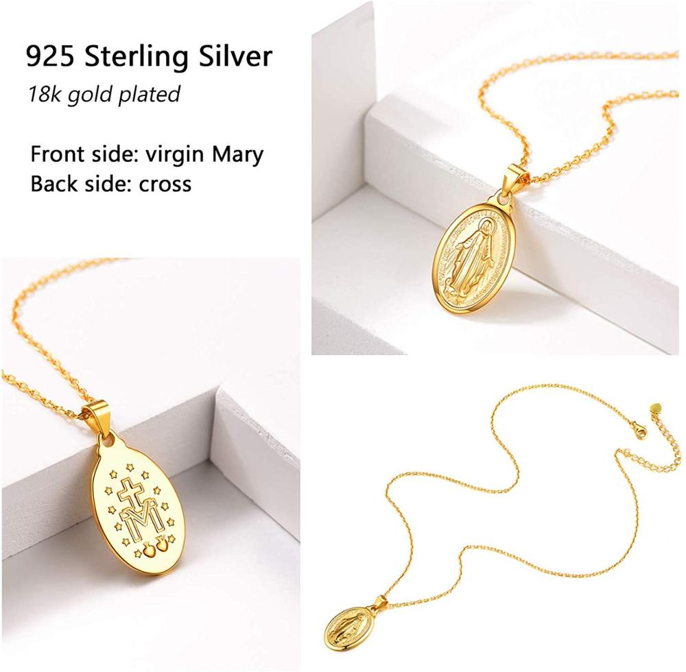 Image 4 - U7 925 Sterling Silver Charms Virgin Mary Pendant Necklaces for Women Men Christian Religious Jewelry Cross Trendy Chain SC118-in Pendant Necklaces from Jewelry & Accessories