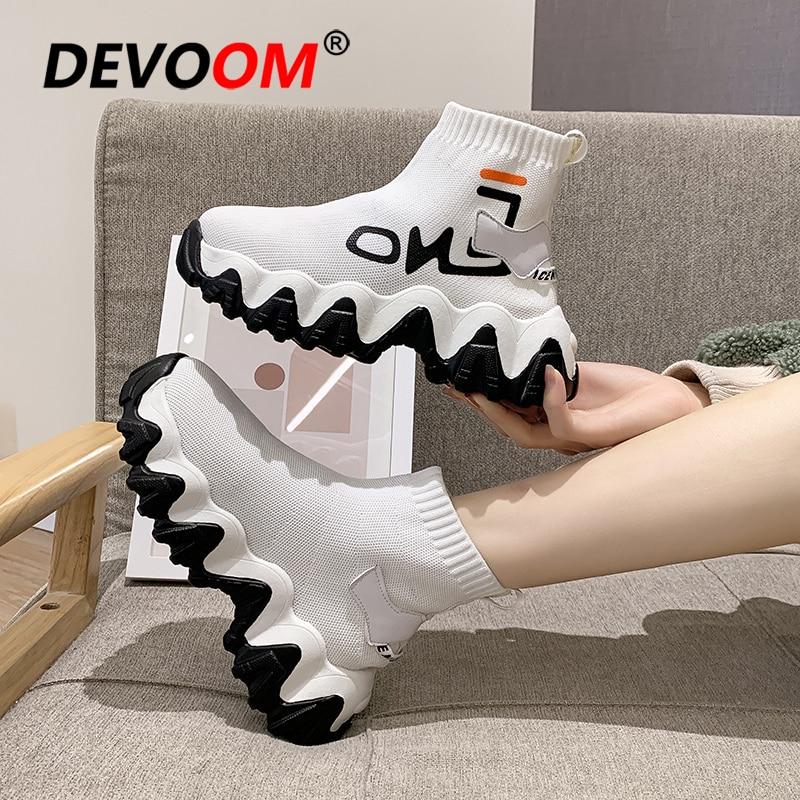 2020 Outdoor Running Shoes For Women Platform Sneakers Women White Socks Flyknit Ankle Sport Shoes Woman Breathable Basket Femme